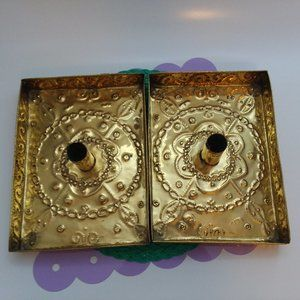 Pair Antique Brass Candle Light Holder Carry Trays